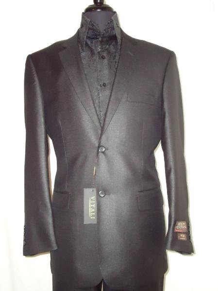 SKU#BLAC7511 Mens Designer 2-Button Shiny Black Sharkskin Suit