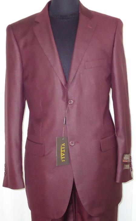 Mens Designer 2-Button Shiny Burgundy ~ Maroon ~ Wine Color Sharkskin Suit