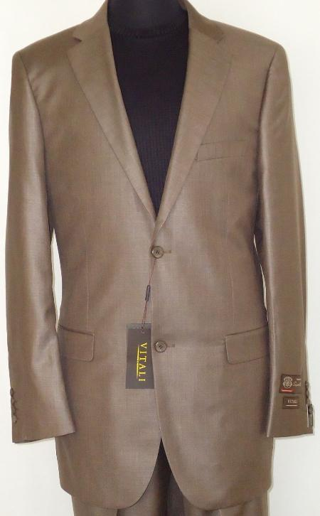 SKU#COA2924 Mens Designer 2-Button Shiny Cocoa Brown Sharkskin Suit