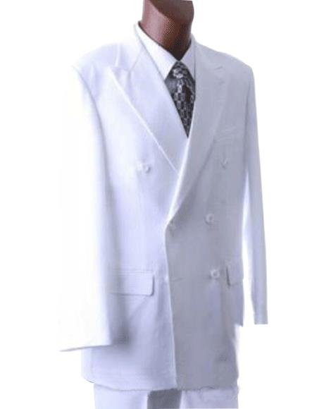 Men's Solid White Double Breasted Suits Classic fit Dress Suit