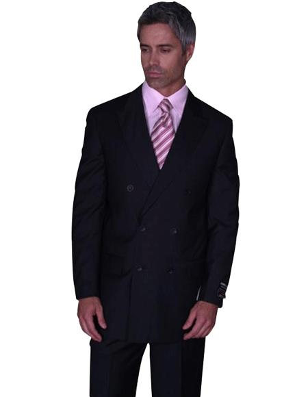 CLASSIC DOUBLE BREASTED SOLID COLOR BLACK MENS SUIT