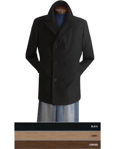 Mens Dress Coat COAT08 Designer Mens Wool Peacoat Sale Wool Blend Double Breasted Broad Lapels Side Pocket in 3 Color