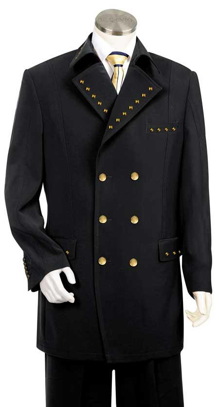 Unique Metal Double Breasted Fashion Suit Eight Button Black