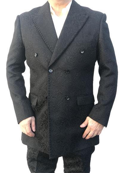 Mens Black Velvet Paisley Button Closure blazer