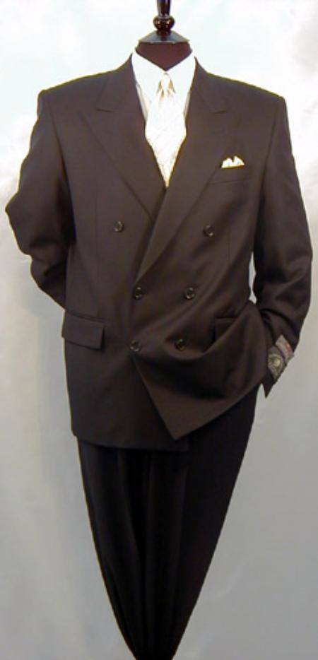 SKU# 237 Double Breasted Mens Suit, 100% Wool Super 120s, Peak Lapel Style Ultra Fashion