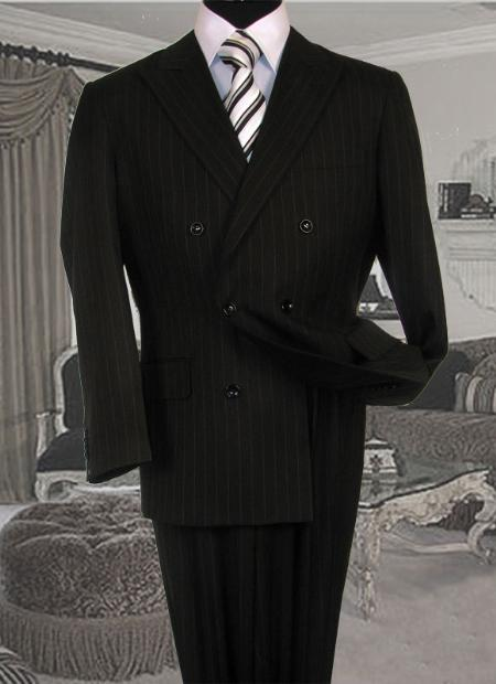 SKU#DH3489 Mens Double Breasted Black with White Stripe ~ Pinstripe Suit With Side Vent Jacket Pleated Pants
