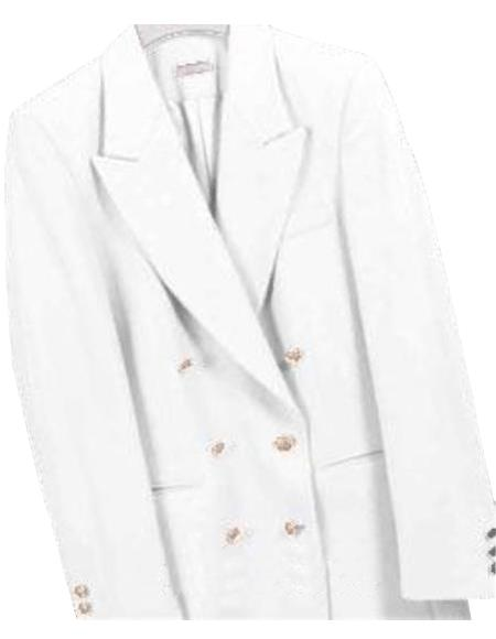 White, Six Button Double Breasted Suits Blazer Jacket Coat