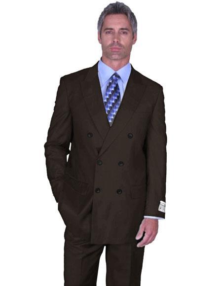 Buy DB-1 Mens Alberto Nardoni Double Breasted Peak Lapel Brown Wool Suit Side Vented Pleated pants