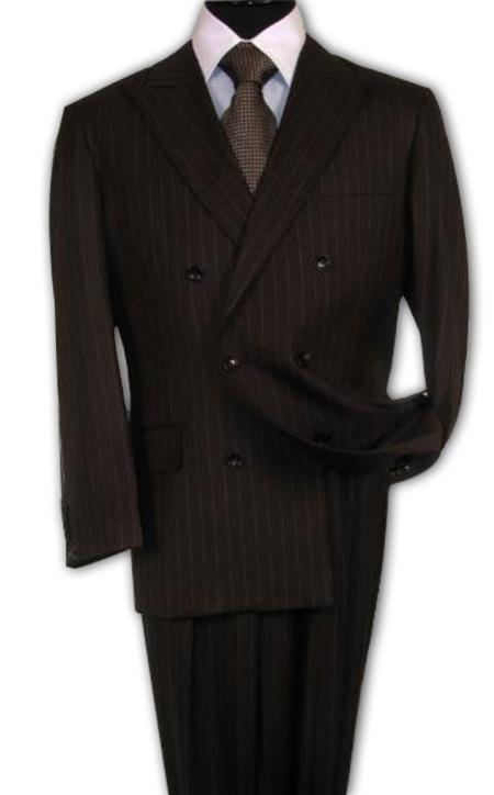 Men's Double Breasted Suits Brown Suit With Smooth Stripe ~ Pinstripe Side Vent Pleated Pants  100% Wool (Wholesale Price available)