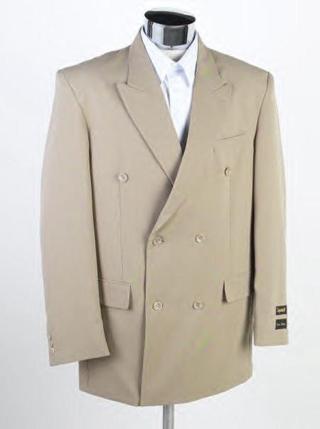 SKU# MKV521 Mens Double Breasted English Tan Super Wool Suits $139