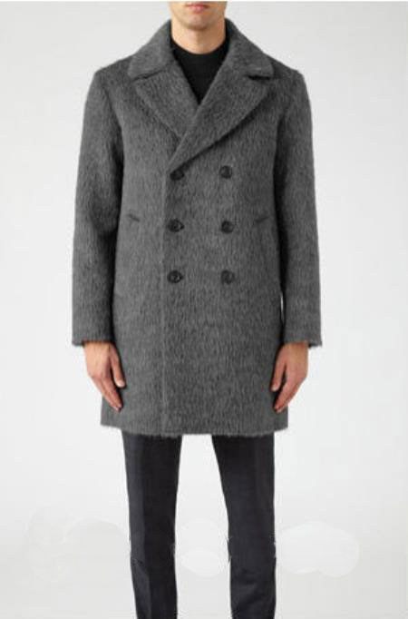 Buy AC-647 Mens Double Breasted Long Mens Topcoat Peacoat Overcoat Charcoal Grey ~ Gray Overcoat