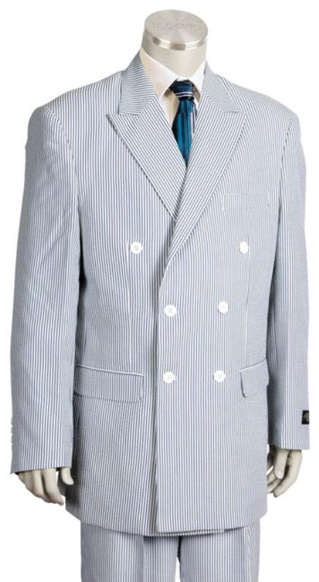 Pinstripe seersucker Suit in Soft Poly Rayon Blue ~ Mens Unique Double Breasted Stripe ~ Navy Pleated Pants Leisure Casual Suit For Sale
