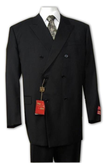 Men's Double Breasted Suit Jacket + Pleated Pants Super 140's 100% Wool Solid Black (Wholesale Price available)