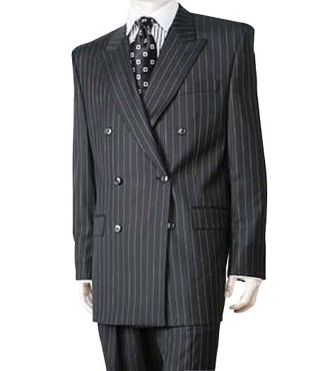 Black/PS Stripe Pinstripe Double Breasted Suits Super 140s Wool premier quality italian fabric