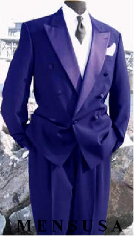 SKU#EP241 Mens Double Breasted Tuxedo Suit (Jacket & Pants) wool fabric in Navy ~ Midnight blue Delivery 10 Days
