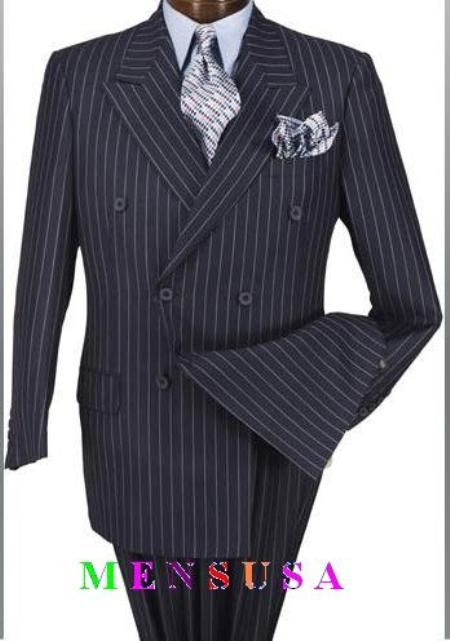 SKU# FK12 High Quality Navy Blue & Chalk Bold White Pinstripe Double Breaste 100% wool feel poly-rayon