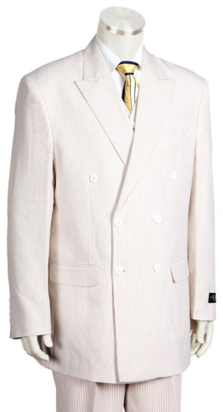 Mens Unique Double Breasted seersucker ~ sear sucker ~ sear sucker ~ sear sucker Suit in Soft Poly Rayon White  ( Tan ~ Beige ~ Sand) Leisure Casual Suit For Sale