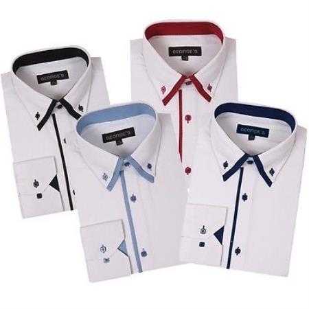 Button Stylish Double Collar Style Multi-Color Men's Dress Shirt