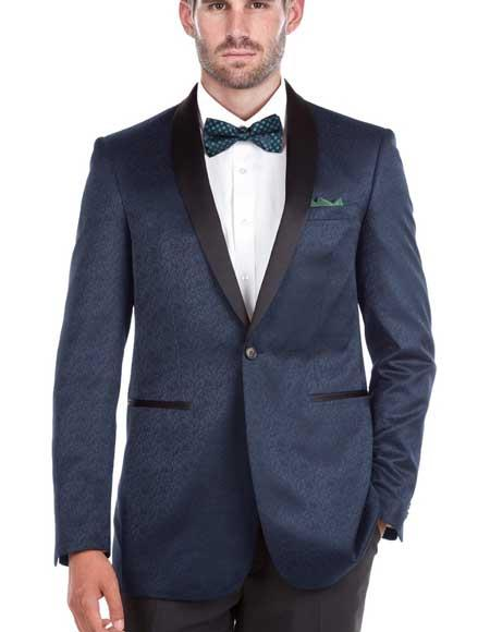 Men's Shawl Collar Blue Textured Double Vent Tuxedo Slim Fit Blazer