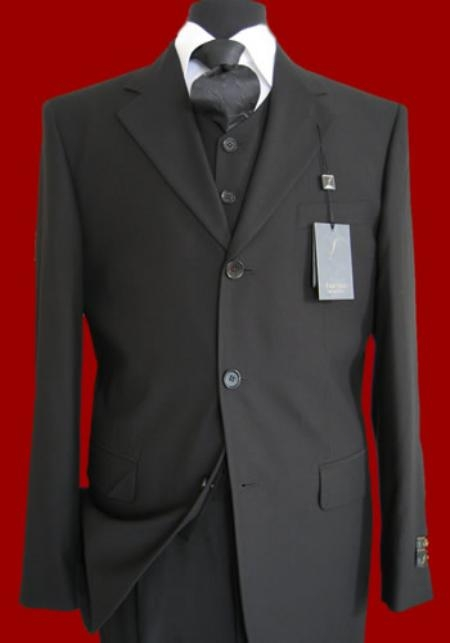 SKU# K177 Mens Dress Black Vestsd Super 150s Wool Suit $175