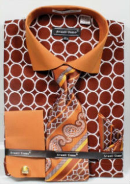 Men's Brown Printed Pattern French Cuff Dress Shirt