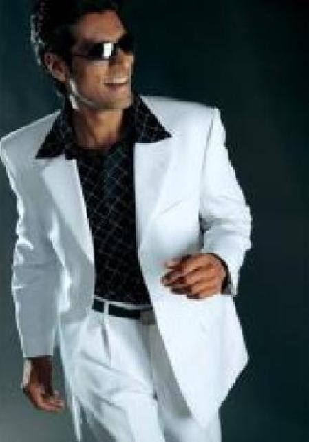 SKU# DVH124 Mens Dress Casual White Suit High Twist All Year Around 3 Button Suit