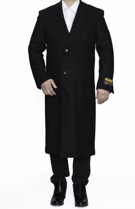 Mens Dress Coat Alberto Nardoni Full Length Wool Dress Top Coat / Overcoat in Black Winter Mens Topcoat Sale