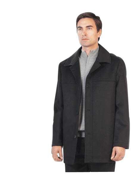 Mens Dress Coat SB Mens Car Coat ~ Wool/Cashmere Black