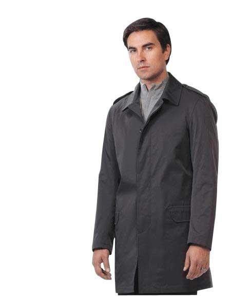 Mens Dress Coat Raincoat - Trench Coat Black