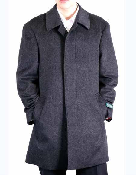 Designer Brand Mens Dress Coat Classic Fit Charcoal Grey Wool Blend 3/4 Designer Overcoat