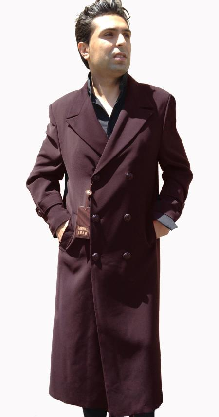 Mens Dress Coat Double Breasted Full Length 6 on 3 Buttons Top Coat~ 50 Length Brown Tabs on Sleeves