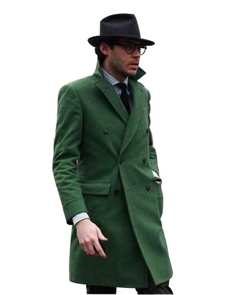 Men's Dress Coat Double Breasted Long Overcoat Olive Green