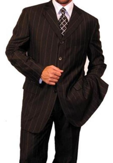 SKU# VEH813 Mens Dress / Fashion Jet Black Wide Black Pinstripe 4 Button Suit