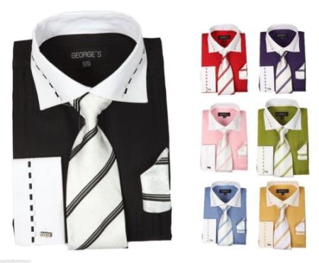fashion Tie&Hanky French Cuff Style White Collar Two Toned Contrast Multi-color Mens Dress Shirt