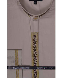 collarless Beige Banded Collar Fancy Stitched Embroidery Mens Dress Shirt