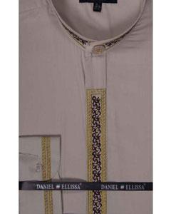 Dress Shirt Beige Banded
