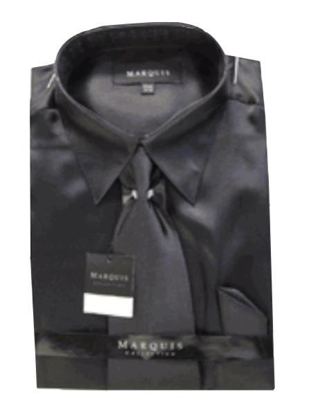 Fashion Cheap Priced Sale Satin Black Dress Shirt Combinations Set Tie Hanky Set Men's Dress Shirt