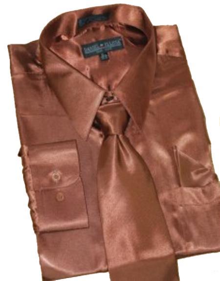 Fashion Cheap Priced Sale Satin Brown Dress Shirt Combinations Set Tie Hanky Men's Dress Shirt