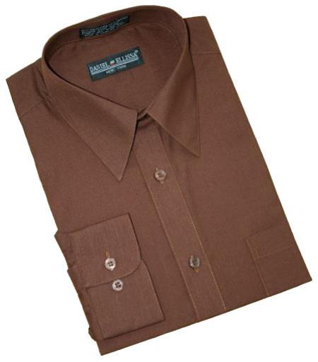 Solid Chocolate Brown Cotton Blend Convertible Cuffs Mens Dress Shirt