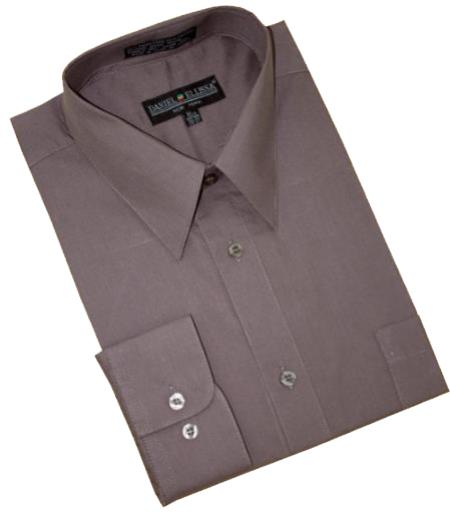 Solid Charcoal Grey Cotton Blend Convertible Cuffs Mens Dress Shirt