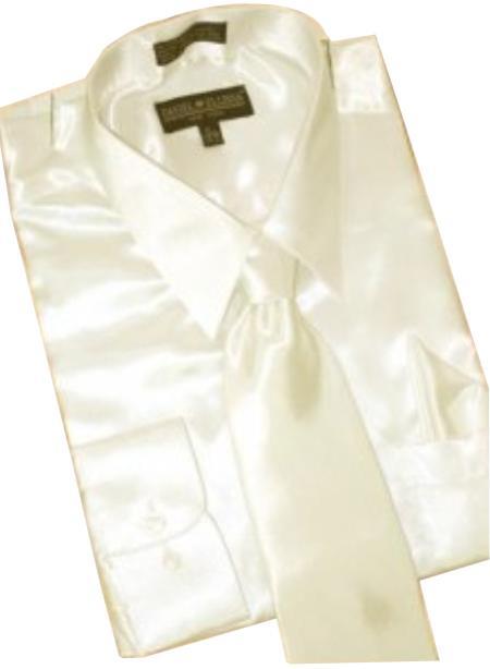Fashion Cheap Priced Sale Satin Cream Ivory Dress Shirt Combinations Set Tie Hanky  Men's Dress Shirt