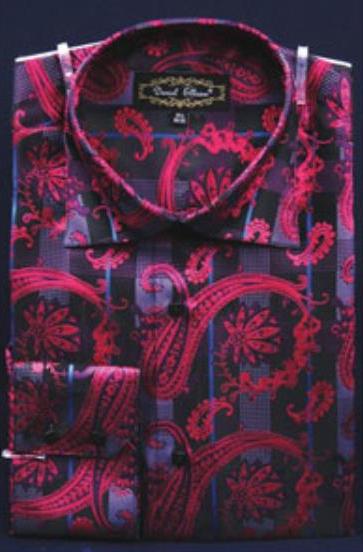 Fuchsia Fancy Shiny Paisley High Collar Pink Color Men's Dress Shirt