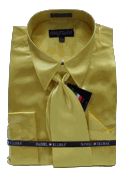 Fashion Cheap Priced Sale Men's New Gold Satin Dress Shirt Combinations SetTie Combo Shirts Men's Dress Shirt
