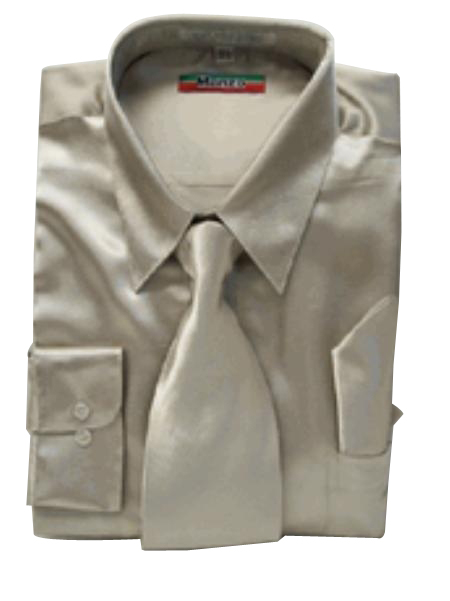 Fashion Cheap Priced Sale Men's New Mezzo Khaki Satin Dress Shirt Combinations Set Tie Combo Shirts Men's Dress Shirt