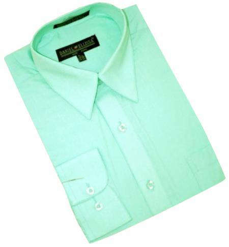Mint Green Cotton Blend Convertible Cuffs Men's Dress Shirt