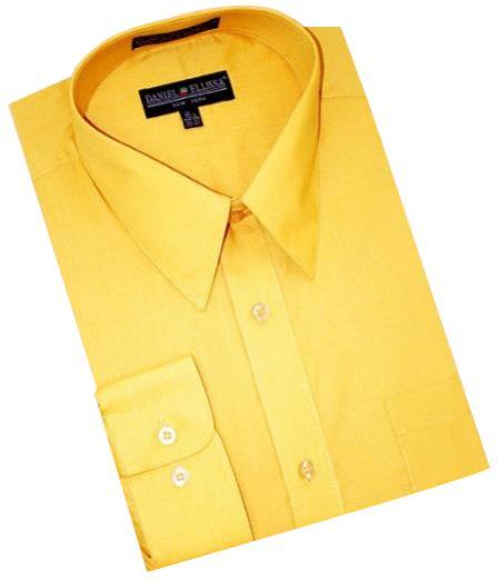 Gold~Yellow~Mustard Cotton Blend Convertible Cuffs Men's Dress Shirt