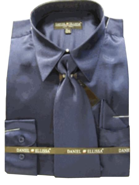 Fashion Cheap Priced Sale Mens New Navy Satin Dress Shirt Combinations Set Tie Combo Shirts Mens Dress Shirt
