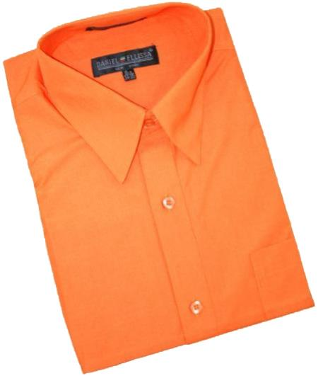 Orange Cotton Blend Convertible Cuffs Men's Dress Shirt