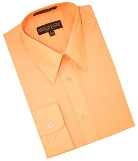 Peach Cotton Blend Convertible Cuffs Men's Dress Shirt