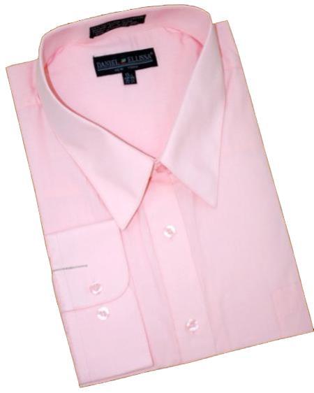 Pink Cotton Blend Convertible Cuffs Men's Dress Shirt